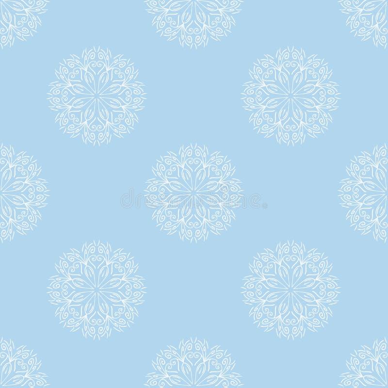 Motivo floreale bianco su fondo blu-chiaro Ripetizione dell'ornamento del modello illustrazione di stock