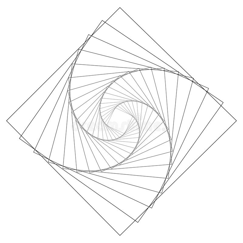 Motivo geométrico circular Elemento abstrato da op-arte do grayscale ilustração do vetor