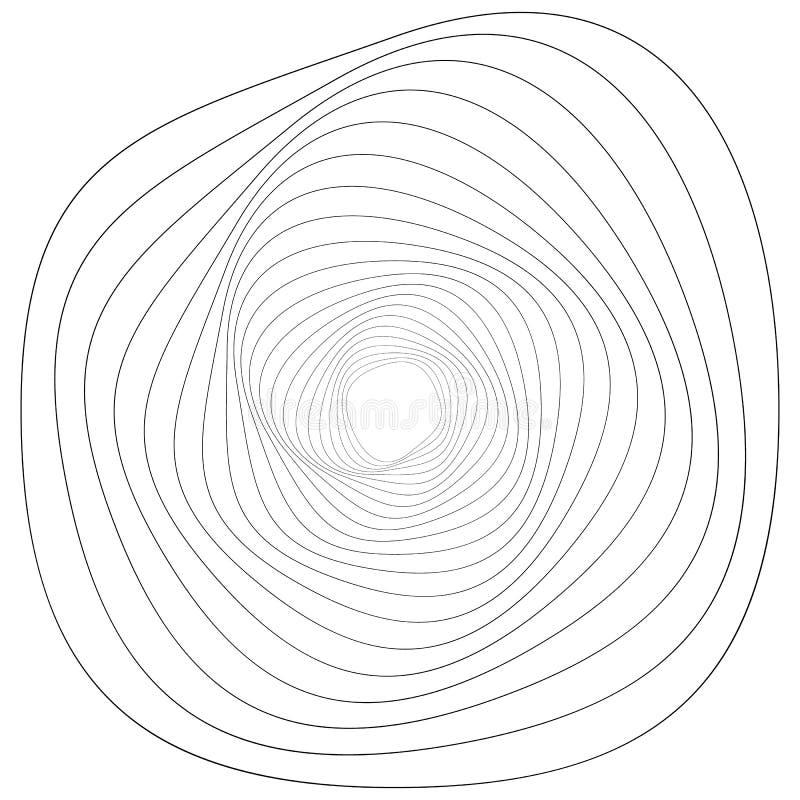 Motivo geométrico circular Elemento abstrato da op-arte do grayscale ilustração stock