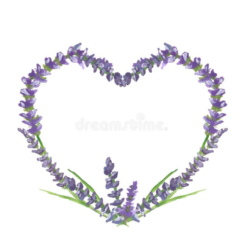 Motivo grafico del cuore, di nozze o del biglietto di S. Valentino della lavanda, pittura dell'acquerello, illustrazione illustrazione vettoriale