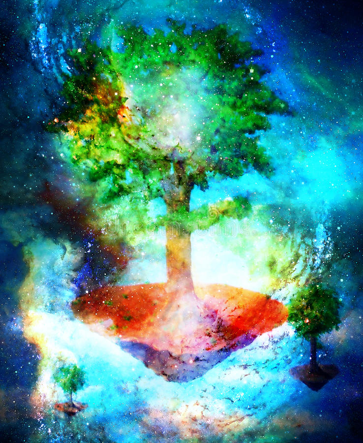 Motivo místico del árbol que vuela, pintura original con efecto gráfico ilustración del vector