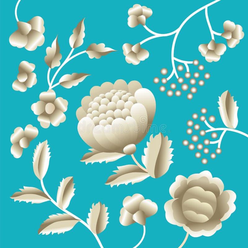 Motivo piega orientale antico di vettore dei fiori Scialle di Manton, ornamento decorativo del ricamo di flamenco di Manila dello illustrazione vettoriale