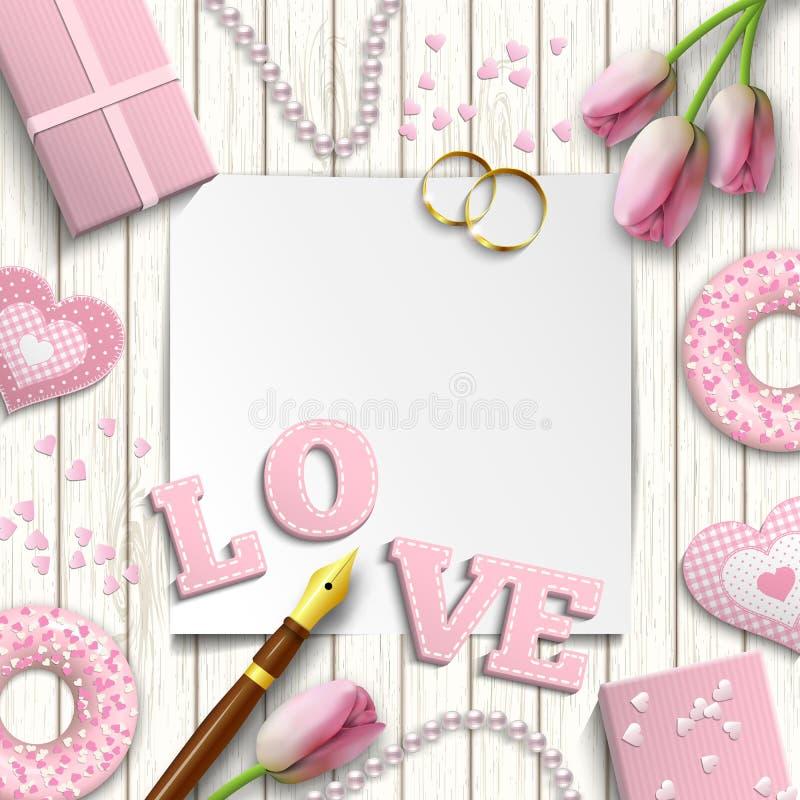 Motivo romantico del biglietto di S. Valentino o di nozze, ispirato dal piano per porre stile, illustrazione illustrazione vettoriale