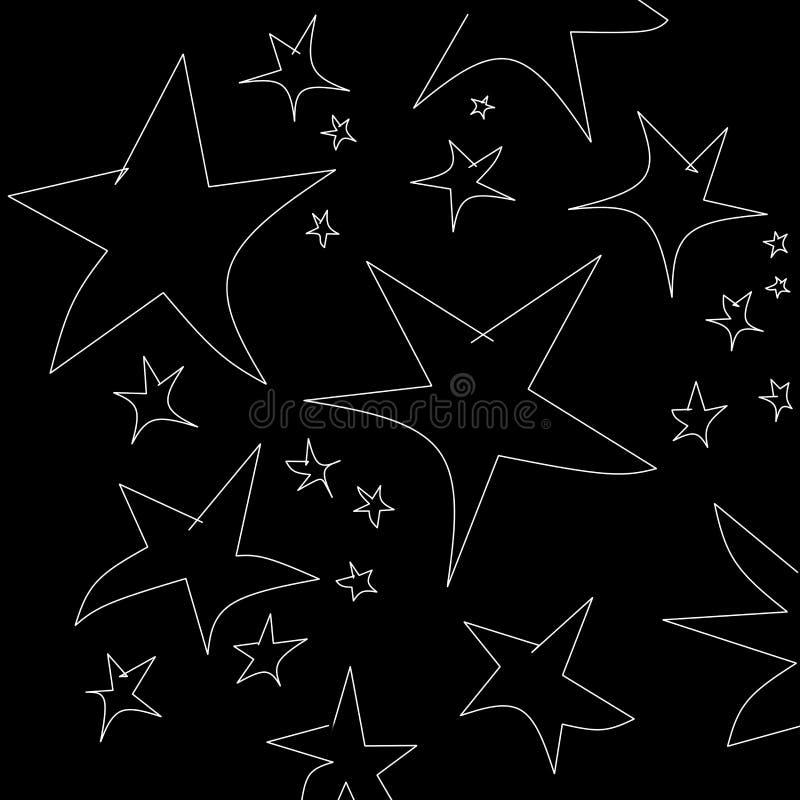 Motivo a stelle in bianco e nero astratto a titolo dimostrativo il fondo e la carta da parati illustrazione vettoriale