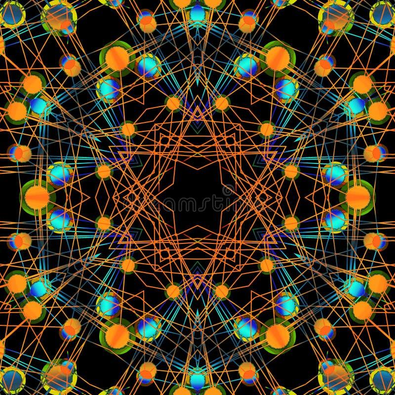 Motivo a stelle complesso con i cerchi concentrici e le linee arancio, blu e verdi sul nero illustrazione di stock