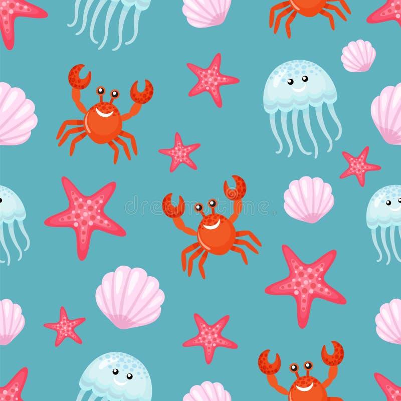Motivo a stelle del granchio e delle meduse, della conchiglia e del mare illustrazione vettoriale