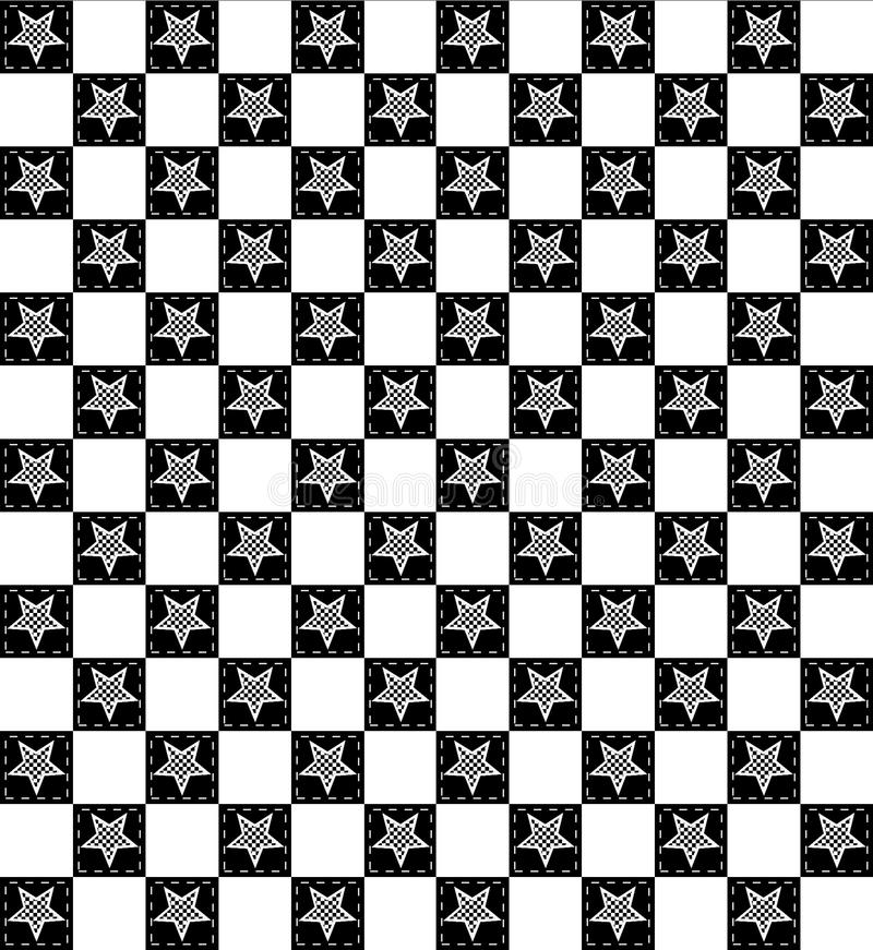 Motivo a stelle a quadretti in bianco e nero illustrazione di stock