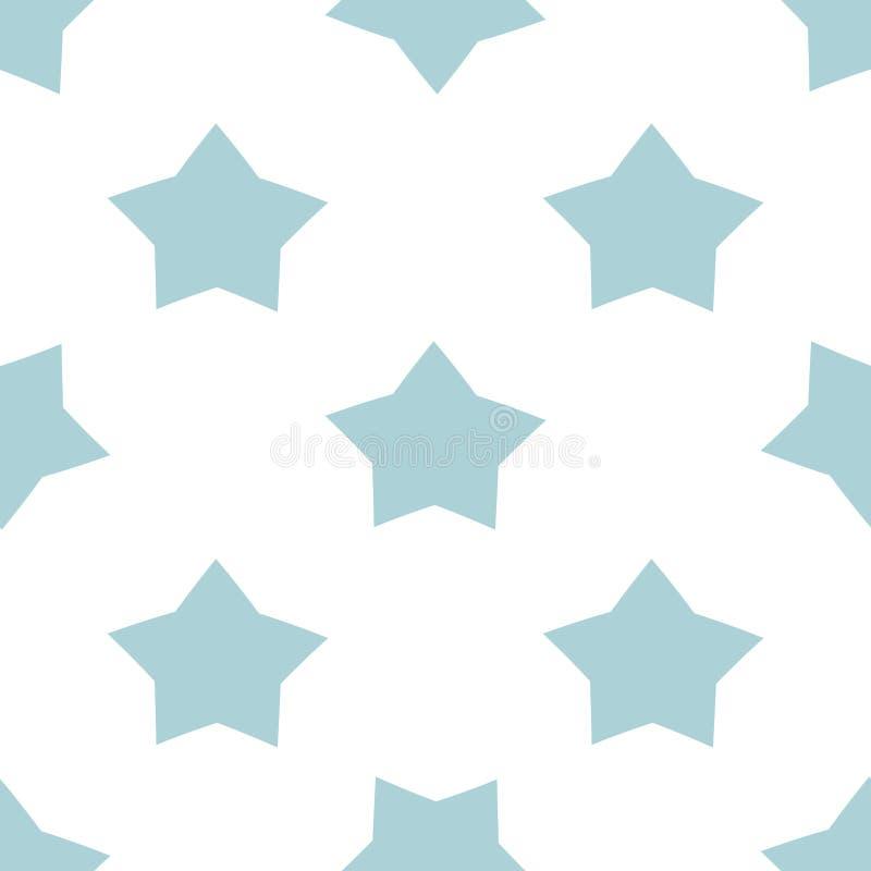 Motivo a stelle senza cuciture per il fondo blu di vettore della doccia di bambino di colori pastelli di feste dei bambini illustrazione vettoriale