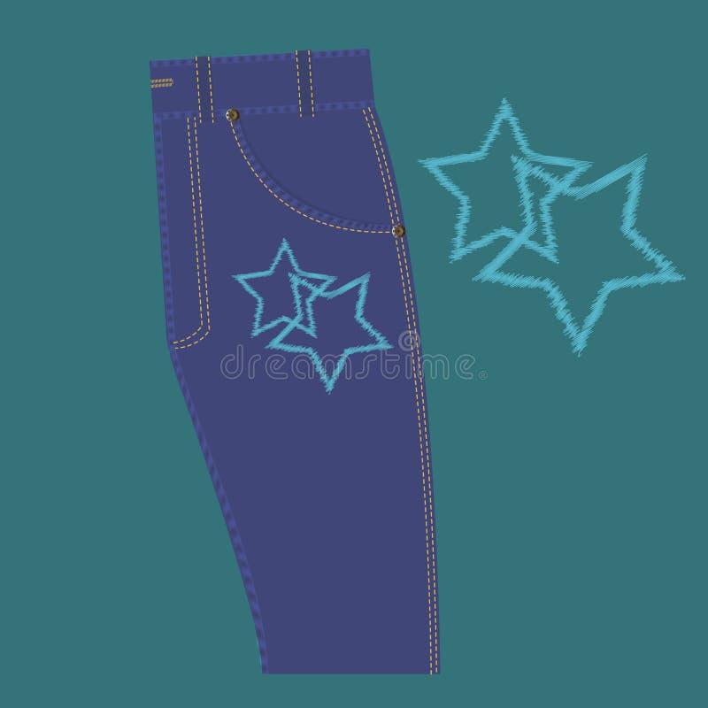 Motivo a stelle sui jeans royalty illustrazione gratis