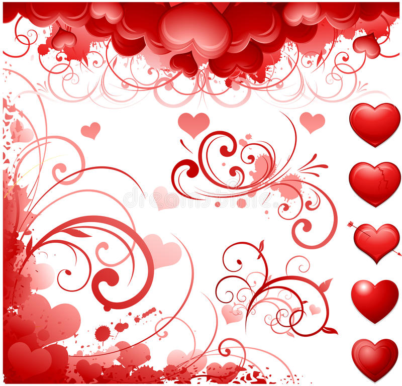 Motivos do dia do Valentim ilustração stock