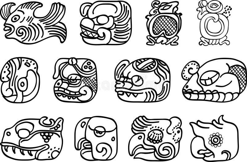 Motivos do mexicano, do asteca ou do maya, glyphs ilustração royalty free