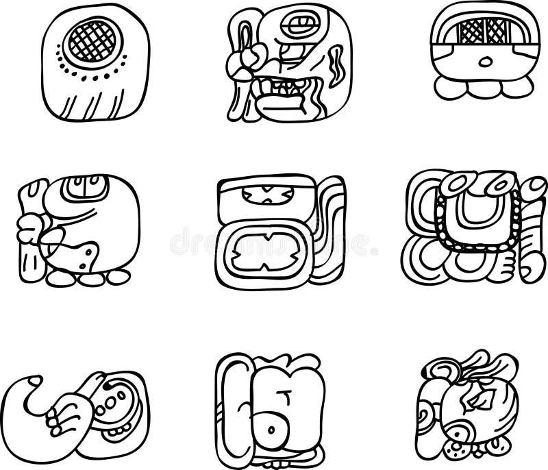 Motivos do mexicano, do asteca ou do maya, glyphs ilustração do vetor