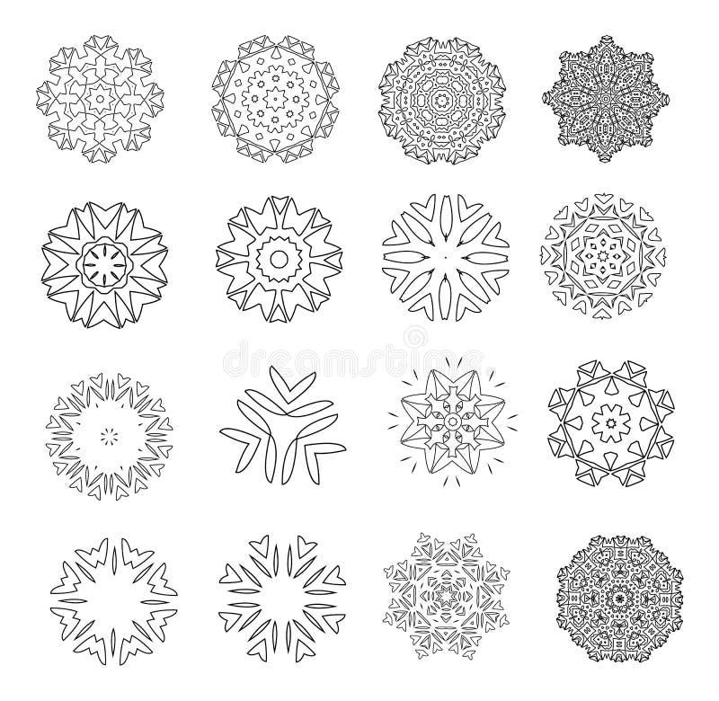 Motivos florais abstratos Flocos de neve laçado Mandala ou Arabesque para colorir jogo coleção Ilustração preto e branco do vetor ilustração royalty free