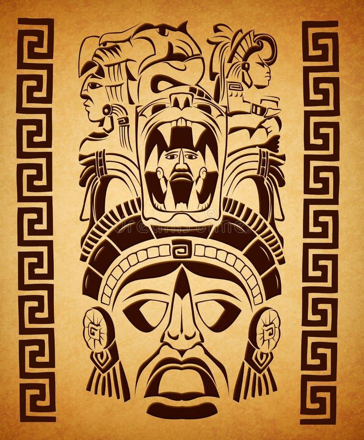 Motivos maias mexicanos - símbolo - textura de papel ilustração royalty free