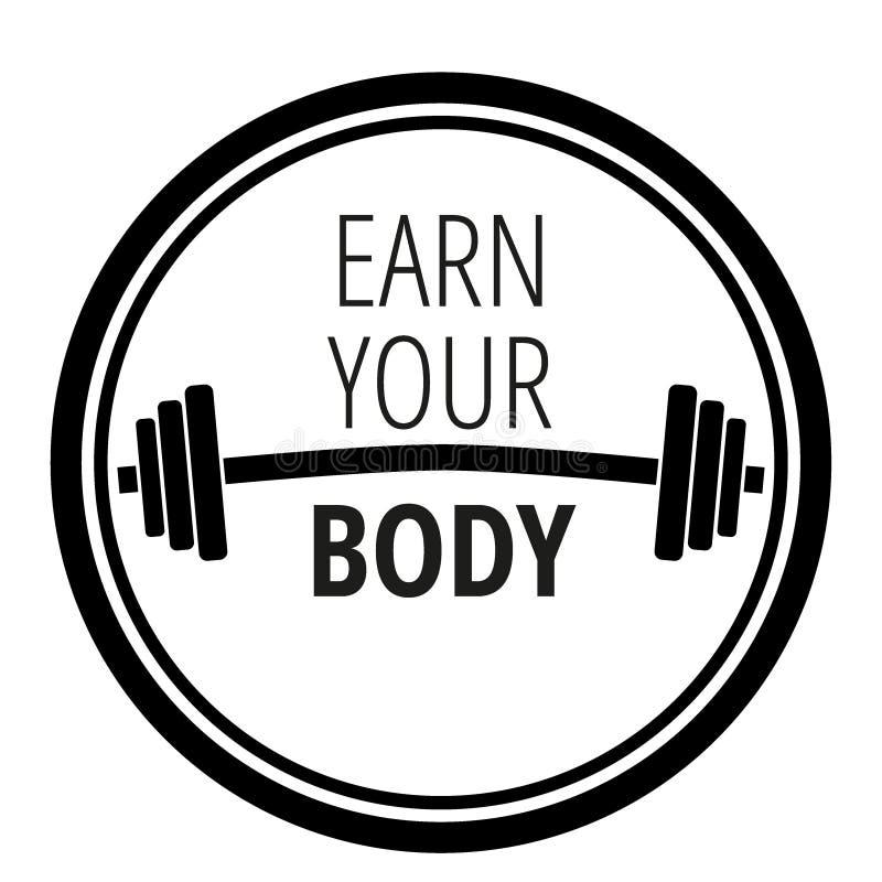 Motivzitat über Trainingseignungsturnhalle und -bodybuilding/Motivationskonzepttypographie/Vektorillustration vektor abbildung