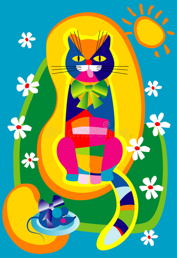 Download Motley Cat And A Blue Mouse Stock Vector - Image: 2636913