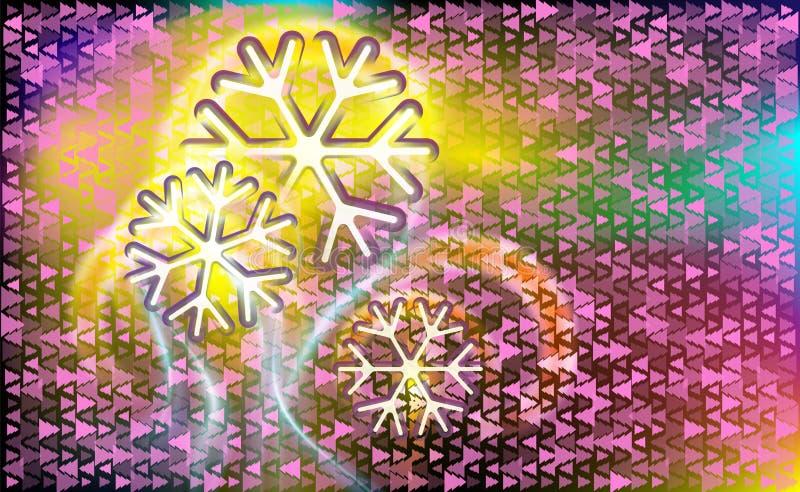 Motley pilotant comme des flocons de neige de comètes sur un fond abstrait rose foncé avec la triangle différente blanche et viol illustration de vecteur