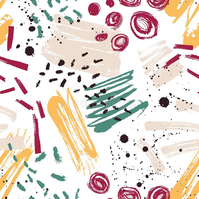 Motley seamless pattern with paint stains, marks, traces, scribble on white background. Creative vector illustration in. Contemporary art style for wrapping vector illustration