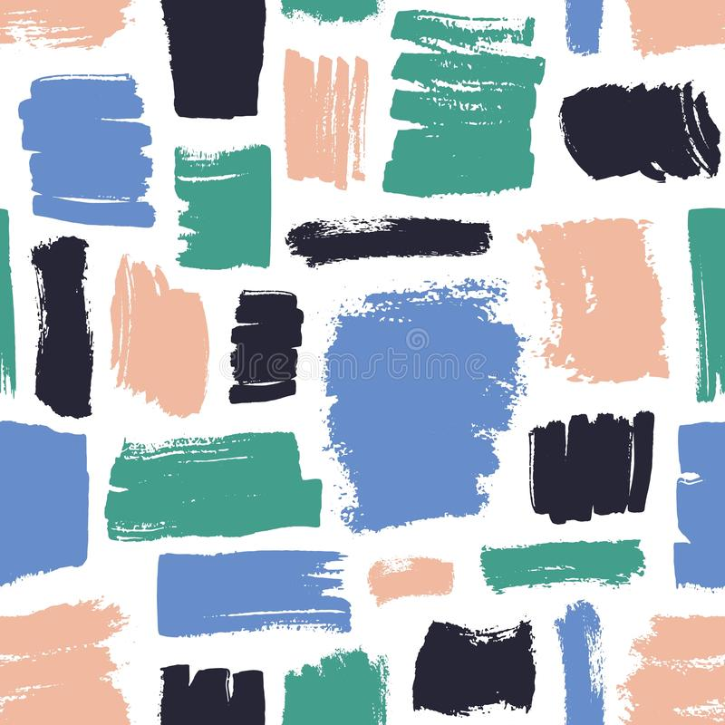 Motley seamless pattern with pink, black, blue and green brush strokes on white background. Modern backdrop with paint vector illustration