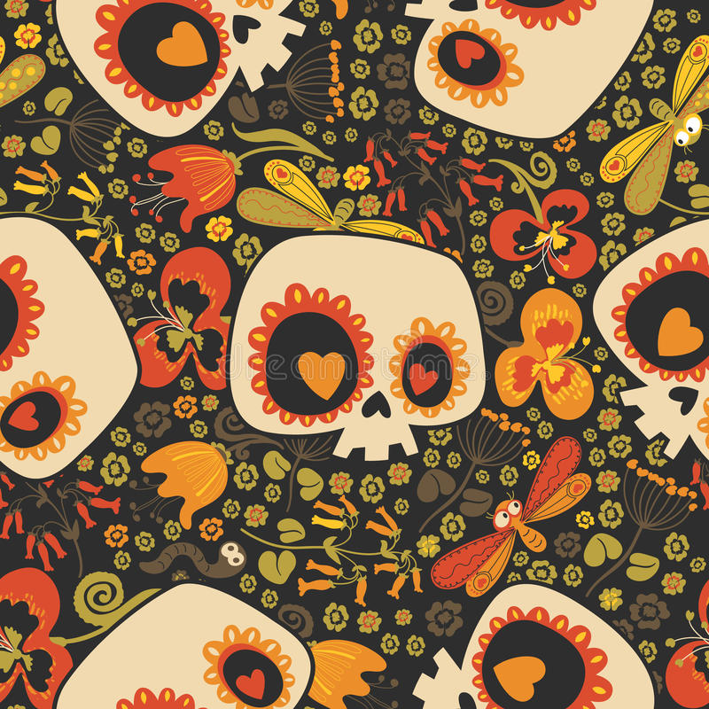 Motley seamless pattern with silhouettes of lovely cartoon human skulls with heart eyes, blooming flowers and cute stock illustration
