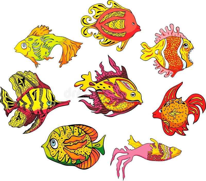Motley tropical fish royalty free illustration