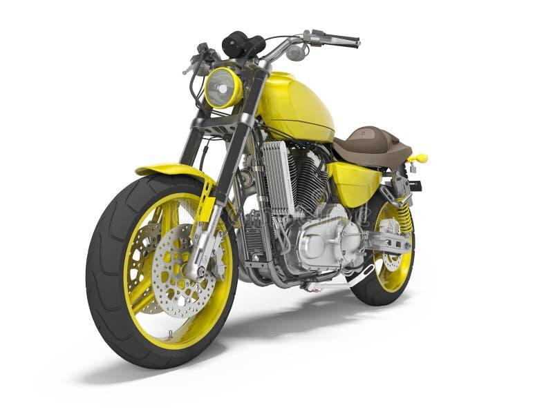 Moto amarilla en la vista delantera 3d de dos lugares rendir en el fondo blanco con la sombra libre illustration