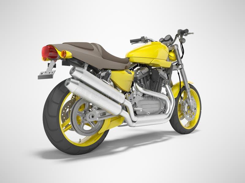 Moto amarilla para dos 3d aislados lugares rendir en fondo gris con la sombra stock de ilustración