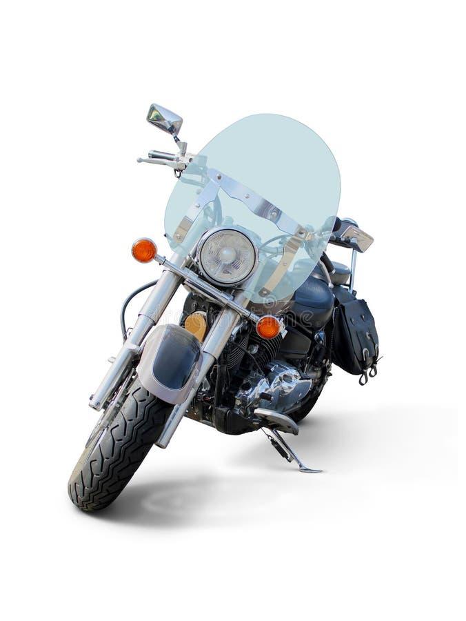 Moto avec la vue de face de pare-brise d'isolement sur le blanc photos stock