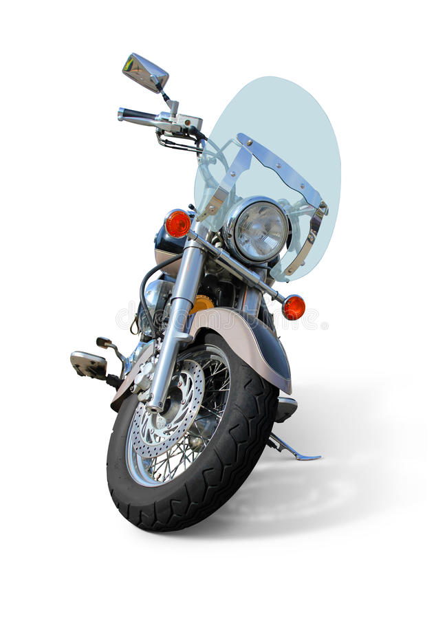 Moto avec la vue de face de pare-brise d'isolement sur le blanc image libre de droits