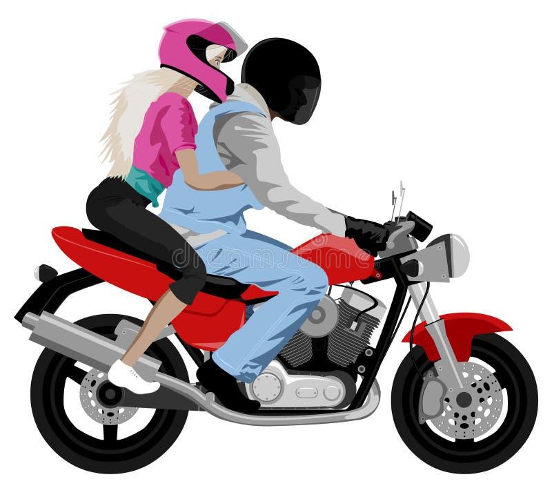 Moto avec le helme de port de cavalier et de belle passagère de fille illustration de vecteur