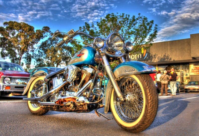 Moto classique de Harley Davidson d'Américain des années 1990 photo libre de droits