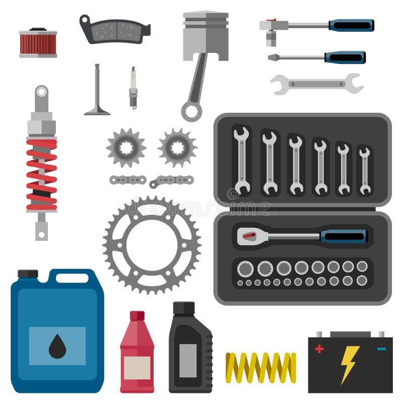 Moto części z narzędziami ilustracja wektor