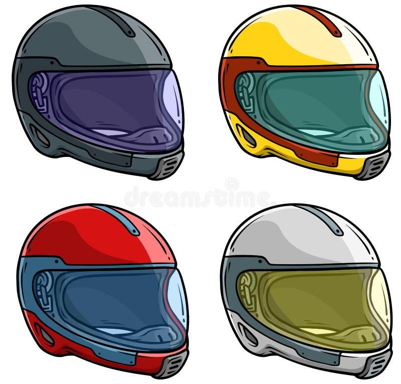 Moto de bande dessinée emballant l'ensemble d'icône de vecteur de casque illustration de vecteur