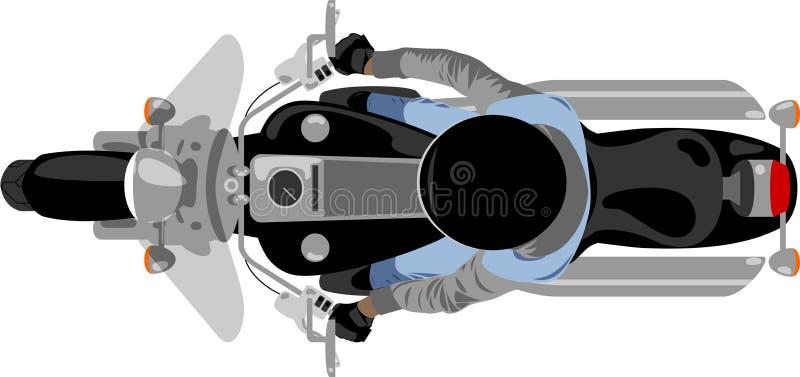 Moto de couperet avec la vue supérieure de cavalier illustration stock