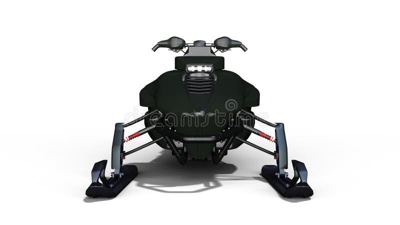 Moto de nieve, vehículo del trineo del motor, esquí del jet de la nieve aislado en el fondo blanco, vista delantera, 3D para rend stock de ilustración