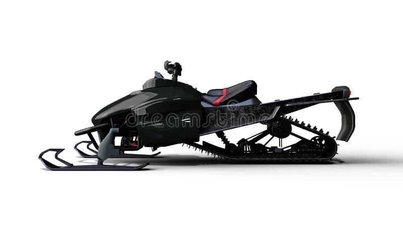 Moto de nieve, vehículo del trineo del motor, esquí del jet de la nieve aislado en el fondo blanco, vista lateral, 3D para rendir libre illustration