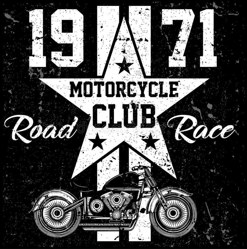 Moto de vintage Illustration grunge tirée par la main de vintage illustration libre de droits