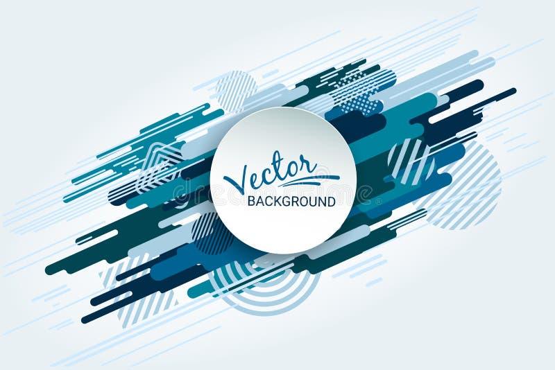 Moto dinamico delle forme geometriche Forma piana blu su fondo bianco Immagine astratta futuristica variopinta illustrazione di stock