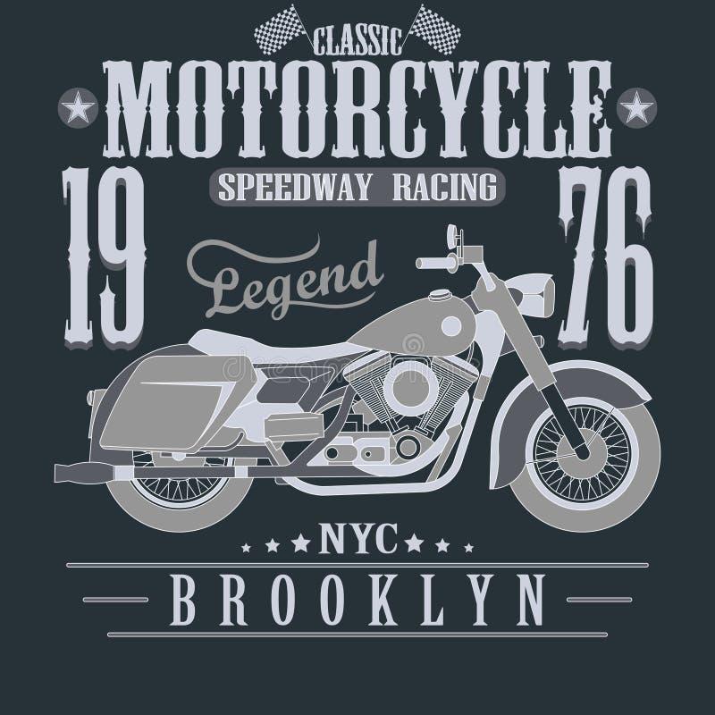 Moto emballant des graphiques de typographie brooklyn illustration de vecteur