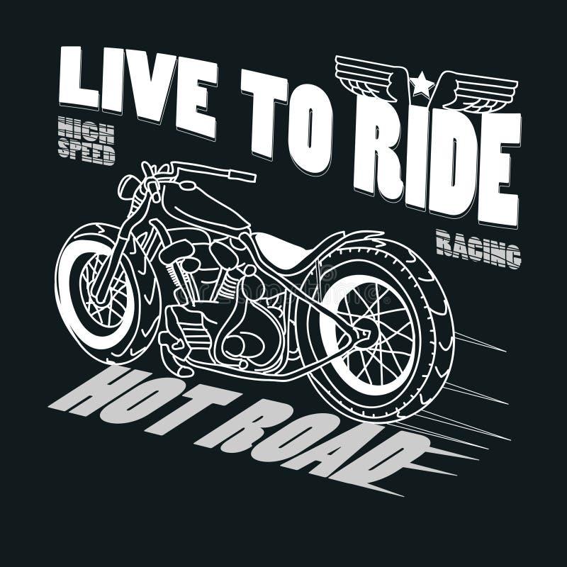 Moto emballant des graphiques de typographie T-shirt illustration stock