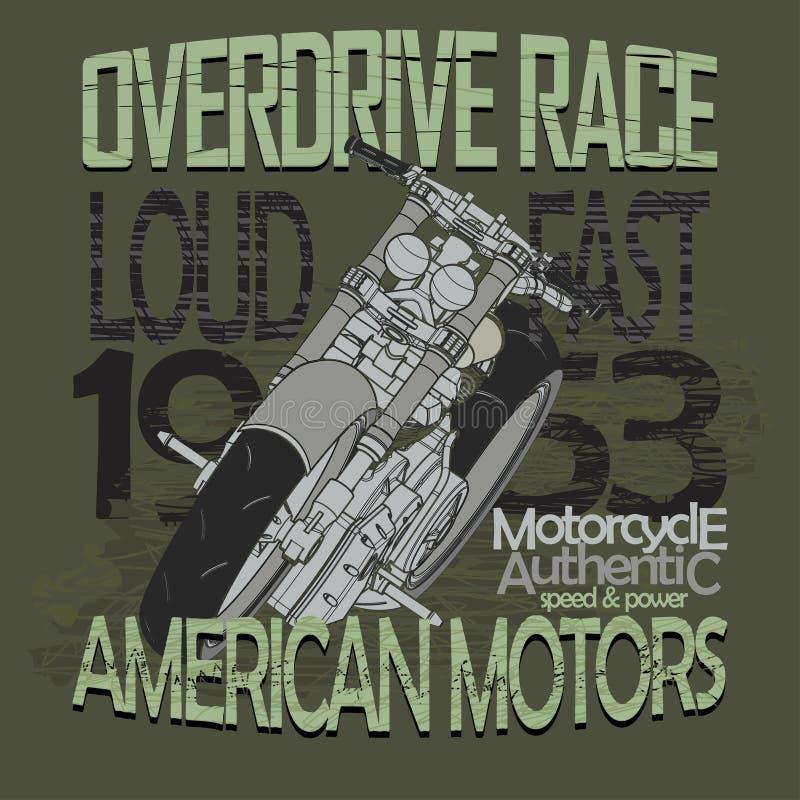 Moto emballant le T-shirt - vecteur illustration de vecteur