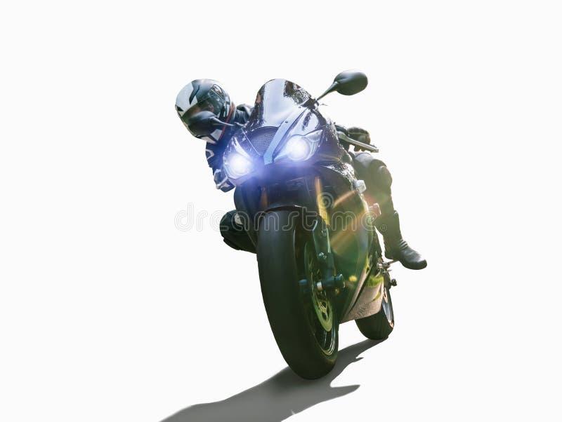 Moto en el montar a caballo del camino divertirse que monta el camino vacío en un viaje/un viaje de la motocicleta fotos de archivo libres de regalías