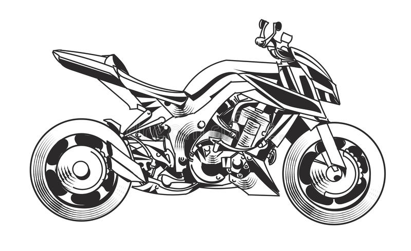 Moto et bicyclette - illustration de vecteur ENV 10 illustration stock