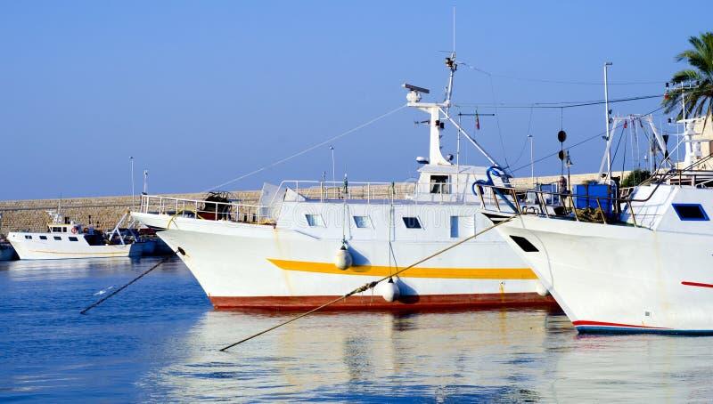 Moto fiske sänder i porten av Molfetta royaltyfria bilder