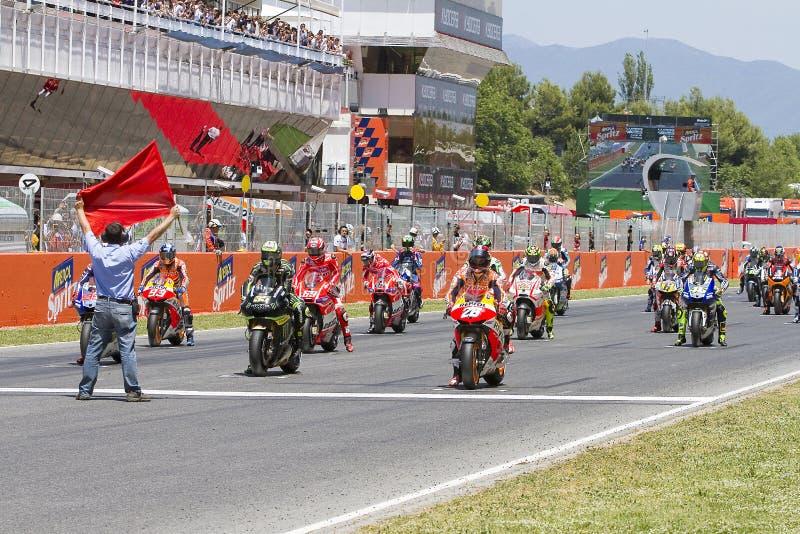 Moto GP beginnend net stock foto's