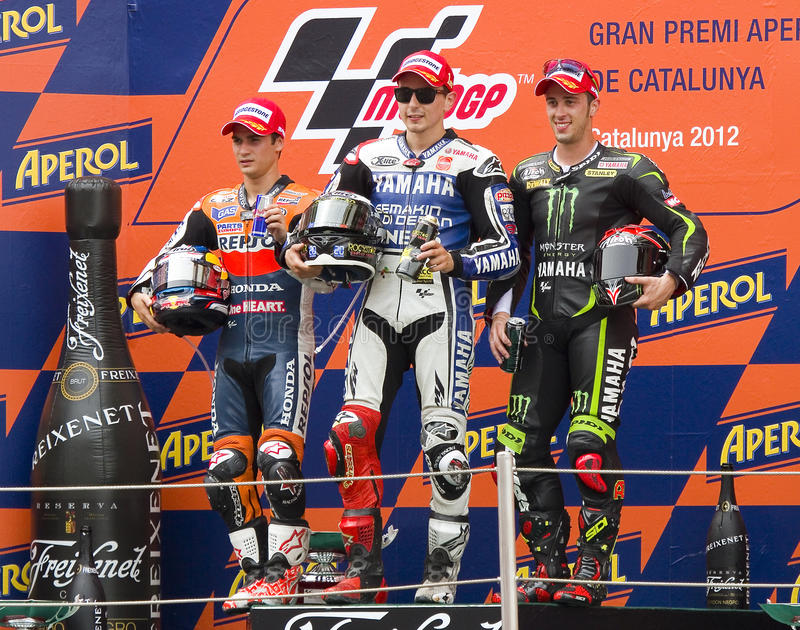 Moto GP-Podium stockbilder