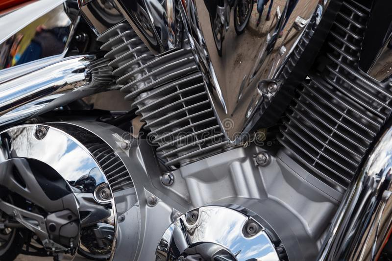 Moto ? la fermeture de ressort de la saison de moto photographie stock libre de droits