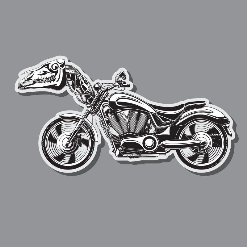 Moto lourde avec un crâne mécanique de cheval Image de vecteur illustration de vecteur