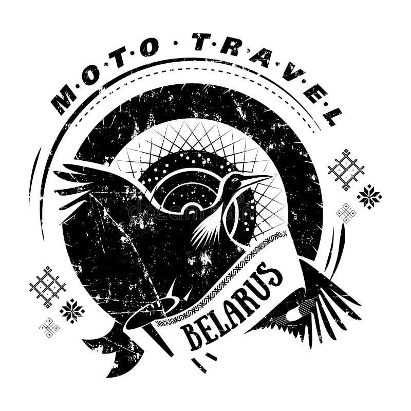 Moto-Reiseemblem mit Vogelstorch, Rad eingebürgert lizenzfreie abbildung