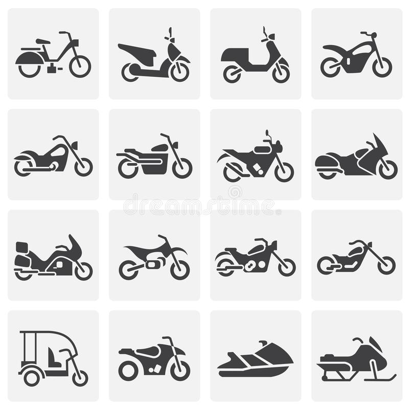 Moto related icons set on background for graphic and web design. Simple illustration. Internet concept symbol for. Website button or mobile app stock illustration